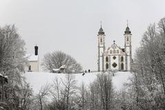 heilig kreuz church in bad toeelz, upper bavaria, germany - stock photo