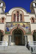 Church hagia trias in agios nikolaos (aghios nikolaos), crete, greec Stock Photos