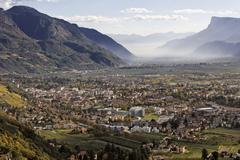 Stock Photo of view to the town of meran, village of tyrol, south tyrol, italy