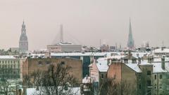 Riga skyline panorama 90 degrees Stock Footage