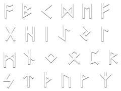 embossed runes illustration on white - stock illustration