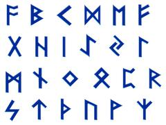 blue runes illustration on white - stock illustration