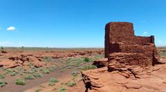 Wukoki Pueblo And Desert Plain- Wupatki National Monument Stock Footage