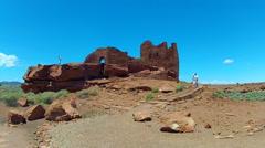 Wukoki Pueblo In Wupatki National Monument With Tourists- Medium Stock Footage