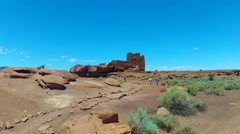 Wukoki Pueblo In Wupatki National Monument With Tourists- Wide Stock Footage