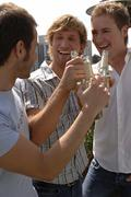 3 young men partying outside Stock Photos