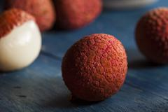 healthy organic red lychee - stock photo