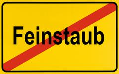 German city limits sign symbolising end of particulate matter Stock Photos
