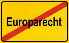 german city limits sign symbolising end of european legislation - stock photo