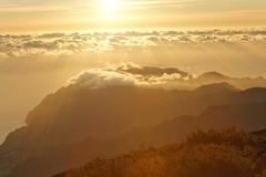 Sunrise viewed from the mountain achada do teixeira (1592m) with a view to th Stock Photos