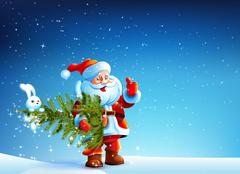Santa Claus standing in snow and keeps the tree Stock Illustration