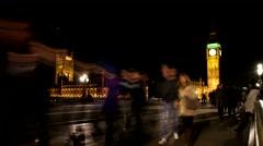 4K_Timelapse Westminster Bridge Night Parliament Big Ben London UHD Stock Footage