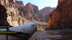 Raft Foreground Grand Canyon Background Stock Footage