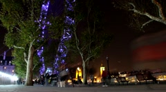 Motion_London Eye at Night Low Angle View 1080 HD Stock Footage