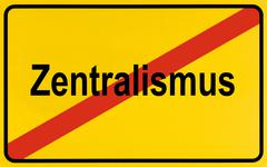 German city limits sign symbolising end of centralism Stock Photos