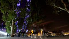 London Eye at Night Low Angle View 1080 HD Stock Footage
