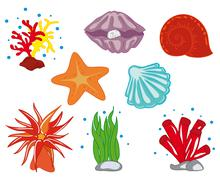 Tropical Ocean Flora - stock illustration