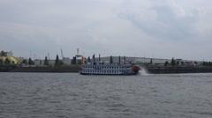 4k Louisiana Star paddle wheeler on boat trip round the Hamburg harbour - stock footage