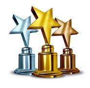 Star award trophies Stock Illustration