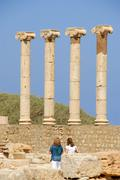 Stock Photo of four columns with ionic capital leptis magna libya