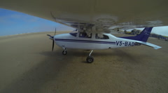 Timelapse from wing - Fly over Sossusvlei and the Namib Desert Stock Footage