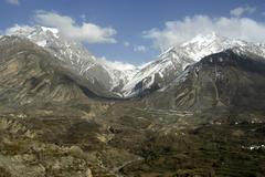 View of muktinath and thorung la pass from dzong mustang annapurna region nep Stock Photos