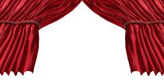 red stage curtain - stock illustration
