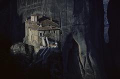 Stock Photo of the monastery agios roussanu at meteora, greece