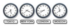 World time zone clocks Stock Illustration
