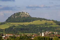 the hohentwiel and the hegau-landscape - baden wuerttemberg, deutschland, eur - stock photo