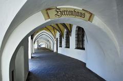 Stock Photo of historic arcades, wasserburg, bavaria, germany