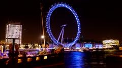 4K_Timelapse London Eye Night from Whitehall Gardens Promenade UHD Stock Footage