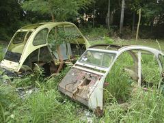 Stock Photo of cemetry of 2cv cars in asunción, paraguay