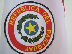 emblem of the paraguayan national flag, republica del paraguay - stock photo
