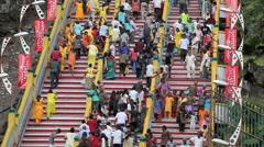 Devotees on Batu Caves steps during Thaipusam Hindu Festival Stock Footage