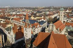 view from the alter peter church over munich, bavaria, germany - stock photo