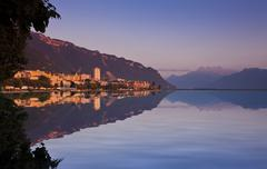 montreux at dusk, canon vaud, lake geneva, switzerland, europe - stock photo
