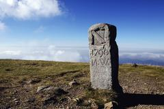 old boundary stone on the summit of mt. belchen in the black forest, baden-wu - stock photo