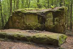 Altar stone at the stimmersdorfer weg trail, saxon switzerland, elbsandsteing Stock Photos