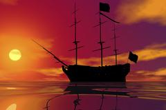 old sailing ship and sunset, 3d graphics - stock illustration
