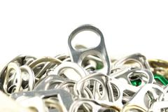 old aluminum ring pulls - stock photo