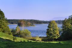 Osterseen nature reserve near lauterbach, marieninsel island, iffeldorf, uppe Stock Photos