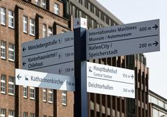 guidepost near the speicherstadt warehouse district in hamburg, germany, euro - stock photo
