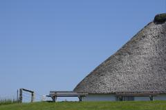 House with thatched roof and restaurant on the hamburg hallig holm, north fri Stock Photos