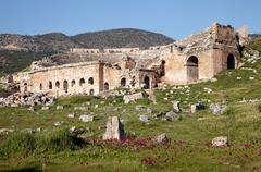 ruins of the ancient theater at hierapolis, world cultural heritage, turkey - stock photo