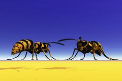 two wasps, 3d graphics - stock illustration