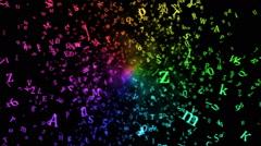 Random Letters Abstract Animation - Loop Rainbow Stock Footage