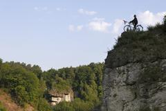 Cyclist sculpture on a cliff, kleinziegenfeld, kleinziegenfeld valley, franco Stock Photos