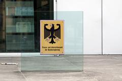 entrance, press and information office of the federal government in berlin, g - stock photo