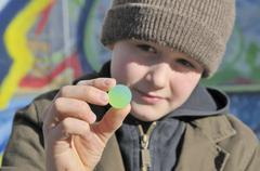 Boy, 10, holding a rubber ball, germany, europe Stock Photos